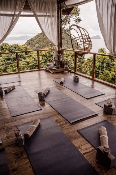 Yoga studio at  glamping boutique hotel The Birdhouse in El Nido, Philippines