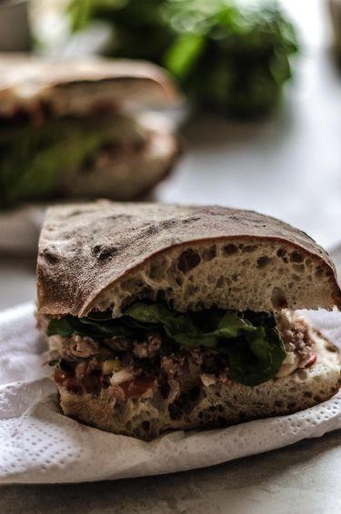 Slice of Malta's healthy tuna salad sandwich also known as ftira bit-tonn taz-zejt