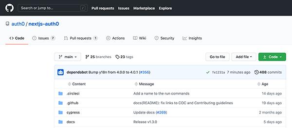GitHub for nextjs-auth0