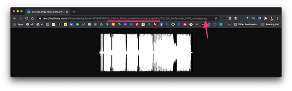 Generated waveform image from Cloudinary in Browser