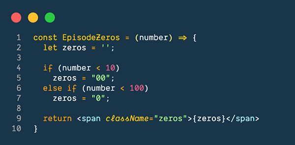 JavaScript code for displaying an Episode's Zeros