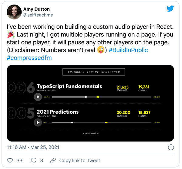 @selfteachme tweet about working on the custom audio player