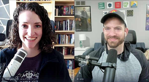 Amy and James recording the podcast