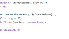 A few lines of code showing a template function that returns some html.
