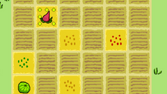 A pixelated farm 6x6 grid with coloured seeds and plants scatted across it. There are also plants in pots at the bottom of the screen.