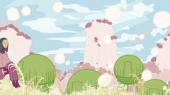 A digitally illustrated drawing of a pastel landscape with plant-like round houses and a person sitting on a hill peacefully.