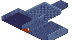 A isometric blue house with a yellow person.