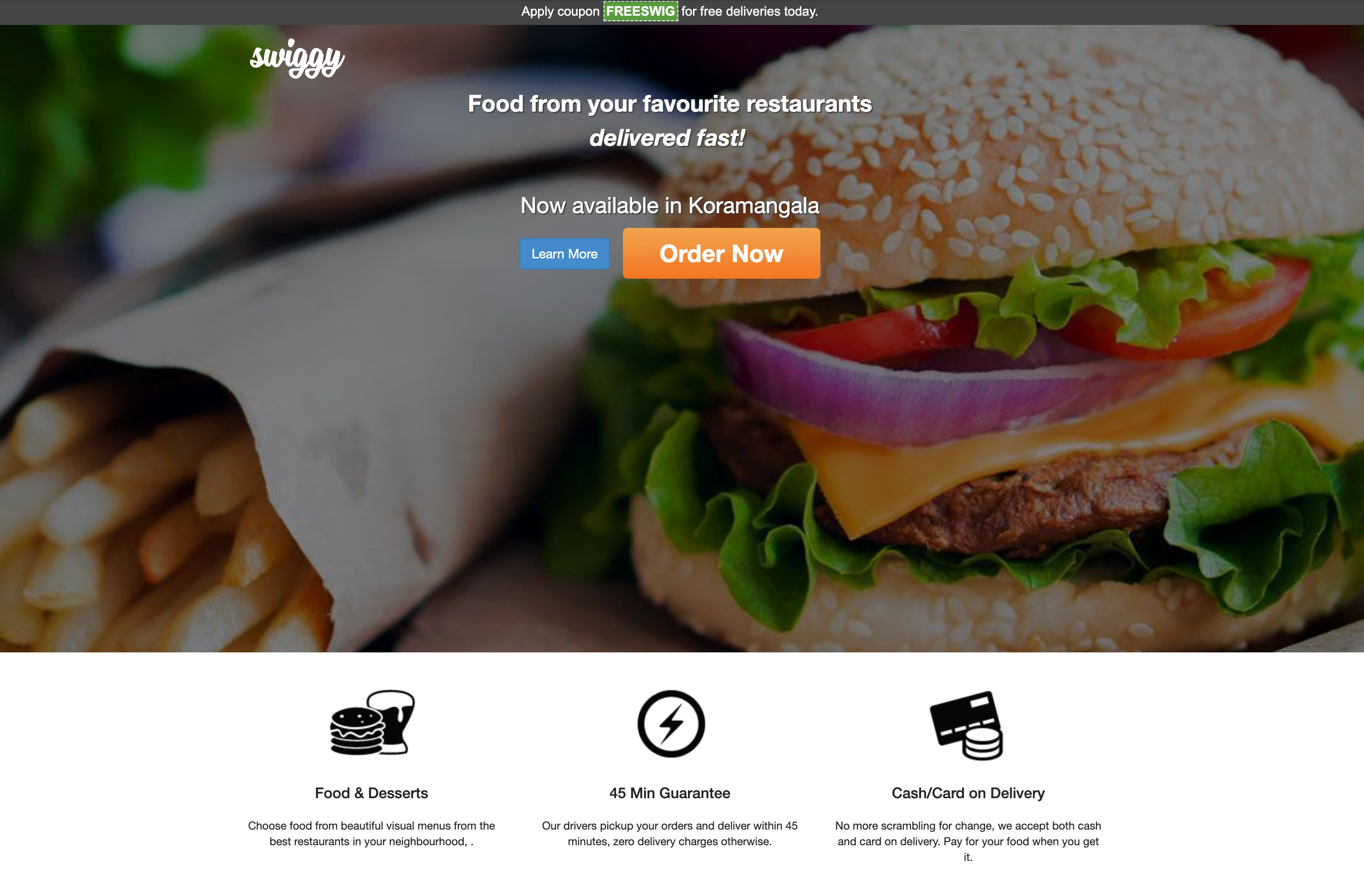 Swiggy's website at launch