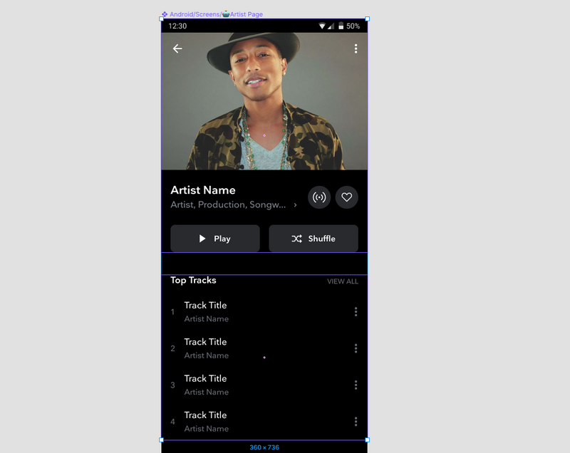 An example of a TIDAL artist page