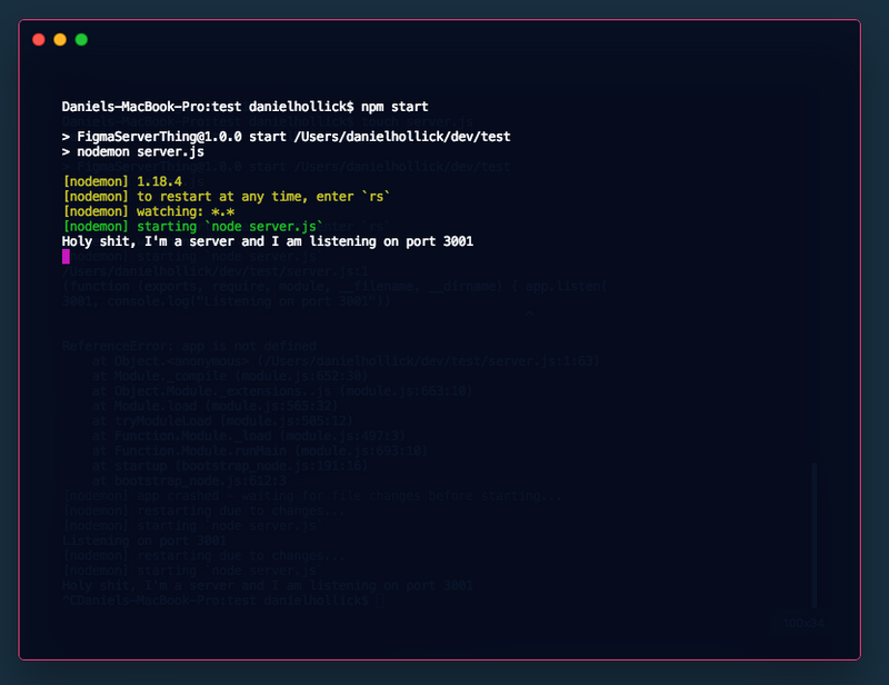 A screenshot of a terminal client logging some output