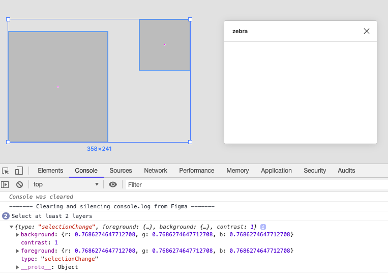 A screenshot of the Figma interface with the console logging a message object