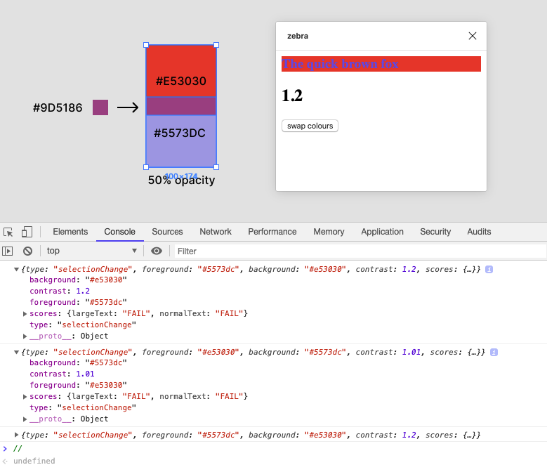 A screenshot of the Figma interface demonstrating that the colours can be swapped.