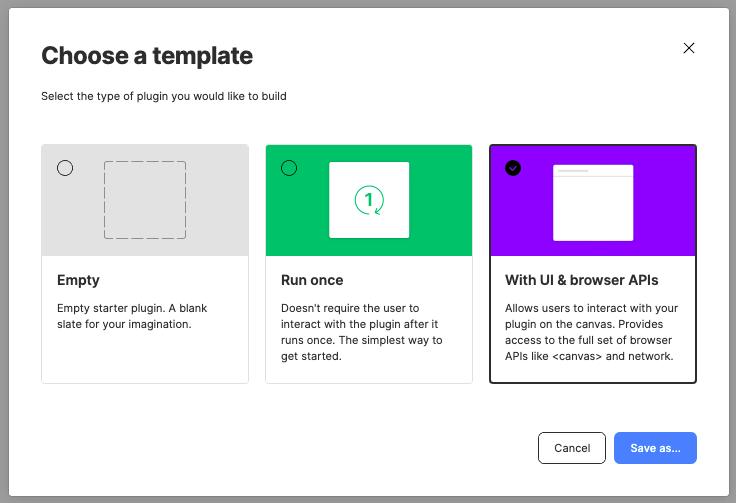 A screenshot of the default plugin starter templates in Figma