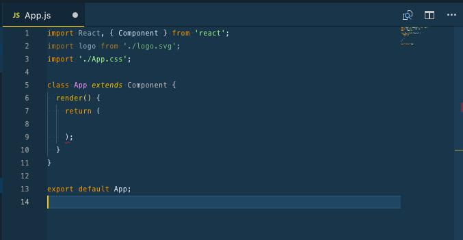 A screenshot of App.js