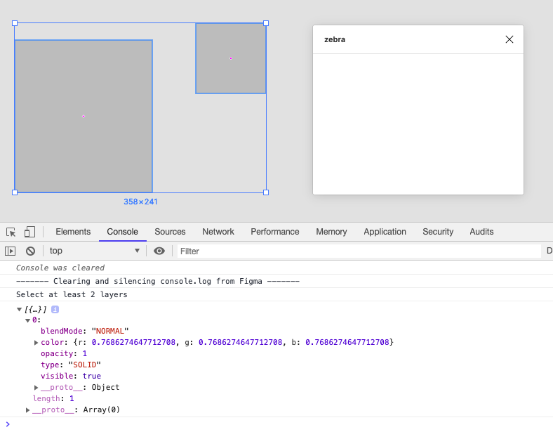 A screenshot of the Figma interface with the console up and the plugin window present.