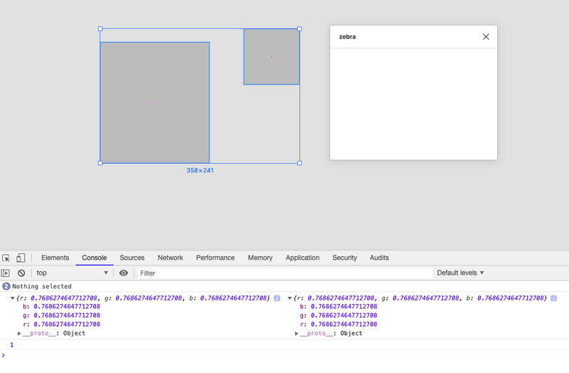 A screenshot of the Figma interface with the console open, logging color objects.