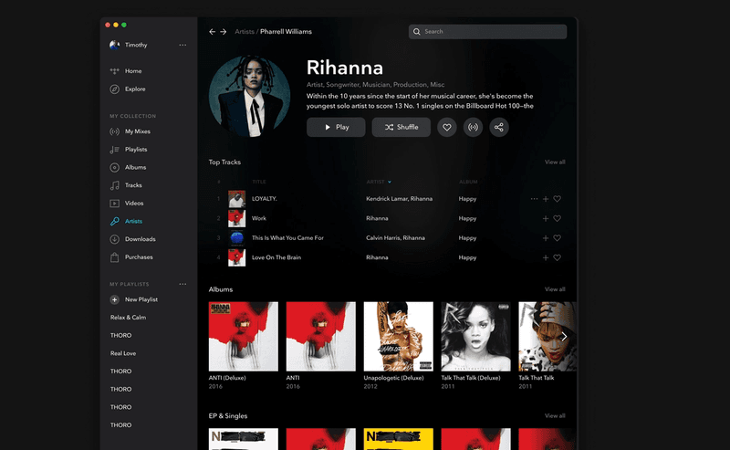 A screenshot of the TIDAL UI completely filled out.