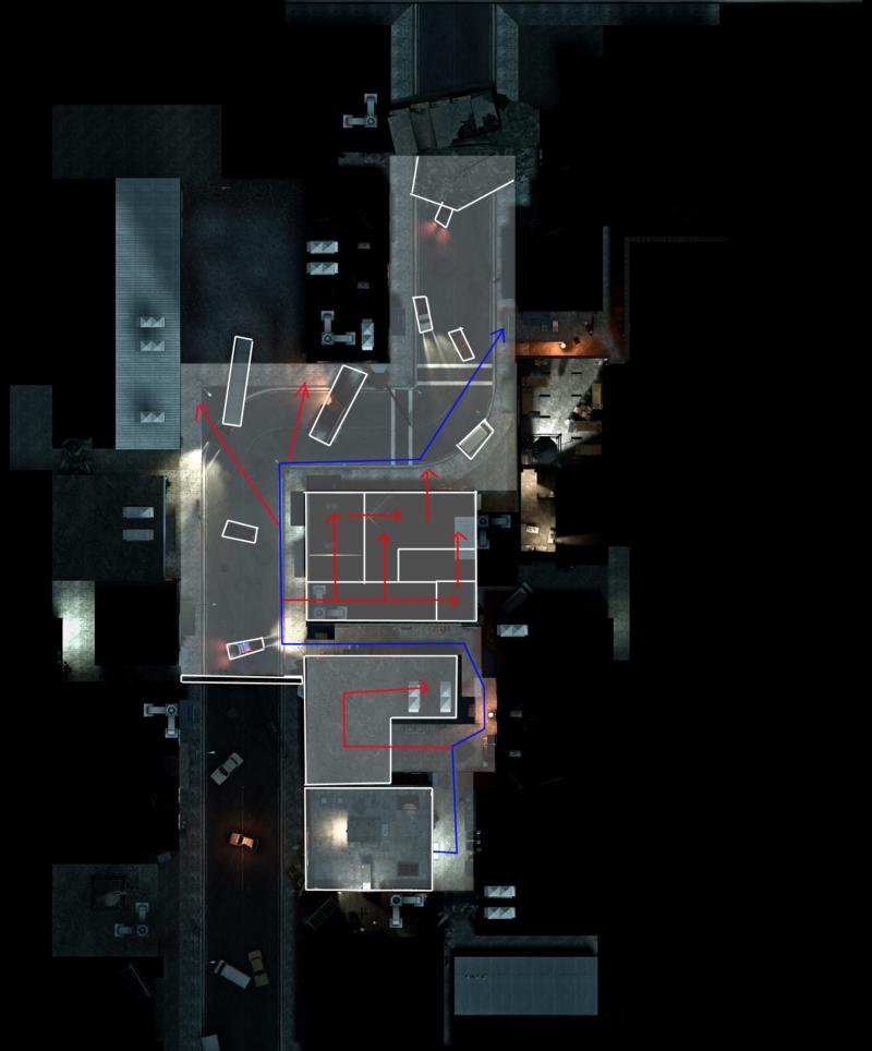 Первый эпизод кампании No Mercy, Left 4 Dead. Точки входа и выхода находятся очень близко друг к другу, но игрокам придется проходить через уличную петлю.