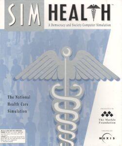 Предварительная версия обложки для пре-релизной версии SimHealth. Коробка имеет сине-серебристый цвет с большим рисунком кадуцея, наложенного на толпу людей. Подзаголовок игры — «Компьютерная симуляция демократии и общества».