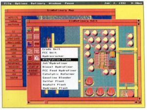 Один из немногих сохранившихся скриншотов SimRefinery. Цвета на скриншоте выглядят сбитыми или неправильными.