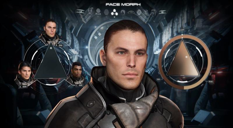 Ранний прототип конструктора лица персонажа Mass Effect: Andromeda
