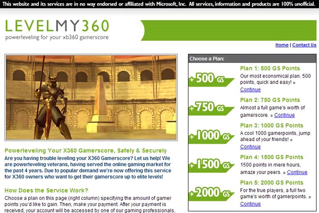 Один из ныне закрытых сайтов с платными тарифами по повышению Gamerscore. Уже на восходе феномена достижений они были лишены сравнительной способности, став чисто символическим игровым капиталом.
