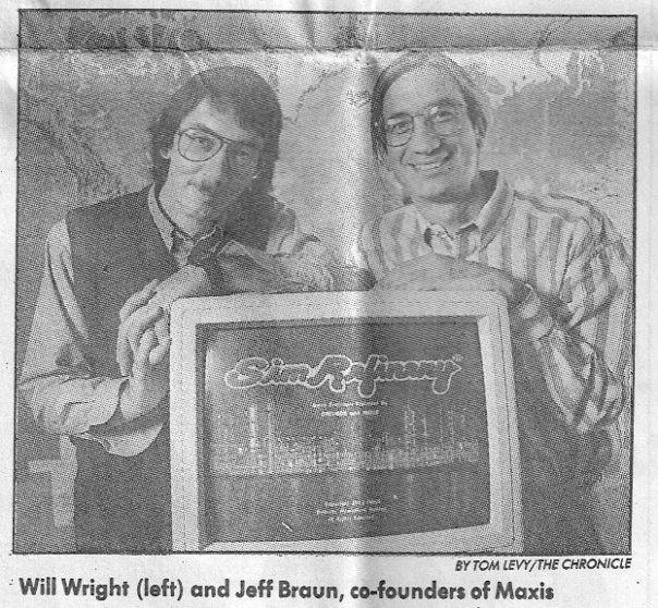 Уилл Райт, Джефф Браун и компьютер с запущенной SimRefinery. (32)