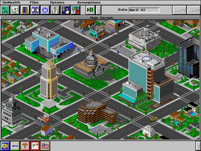 Главная улица в SimHealth позволяет игроку увидеть, как город меняется вместе с изменением экономики здравоохранения и перераспределением расходов.