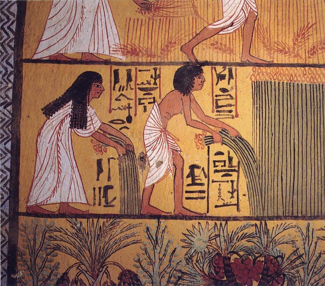 Быт загробной жизни, изображенный на стенах места упокоения художника Сеннеджема. Существует расхожее мнение об одержимости египтян смертью и последующими за ней дарами, однако многие фрески, наоборот, иллюстрируют чрезмерную любовь к жизни и повседневным активностям, продолжающимся после кончины.