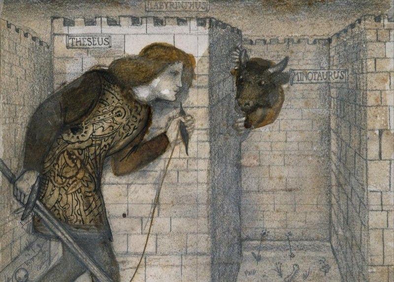 Фрагмент картины «Тесей и минотавр в Лабиринте», Эдвард Бёрнс-Джонс.
