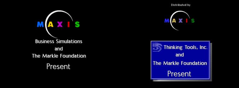 Перед выпуском SimHealth Maxis Business Simulations была выделена в собственную компанию. Предварительная версия игры 1993 года (слева) по-прежнему приписывает компании первоначальное название.
