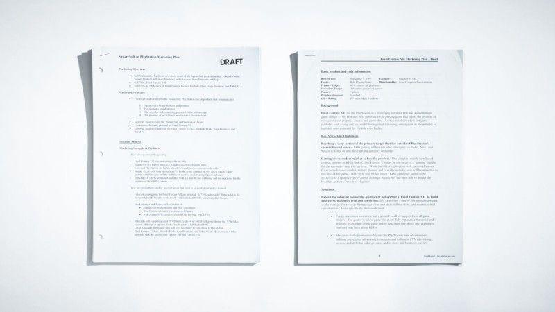 Для этого сюжета бывший старший менеджер по продуктам Sony Дэвид Бамбергер порылся в своих архивах и обнаружил ряд внутренних документов и концептов для маркетинговой кампании Final Fantasy 7. Фотограф: Джонатан Кастильо; материалы предоставлены Дэвидом Бамбергером.