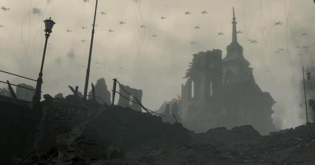 Вторая мировая война на берегу Клиффа, предположительно бомбардировка Франции, Сен-Мало. Канализация и береговые линии призрачного города утопают в смоле, среди развалин валяются мертвые касатки, в небеса тянутся бесконечно длинные пуповины душ.