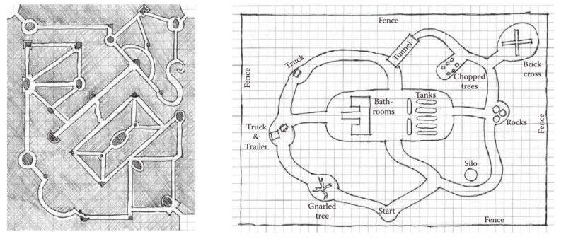 Карты Версальского лабиринта и Slender: The Eight Pages