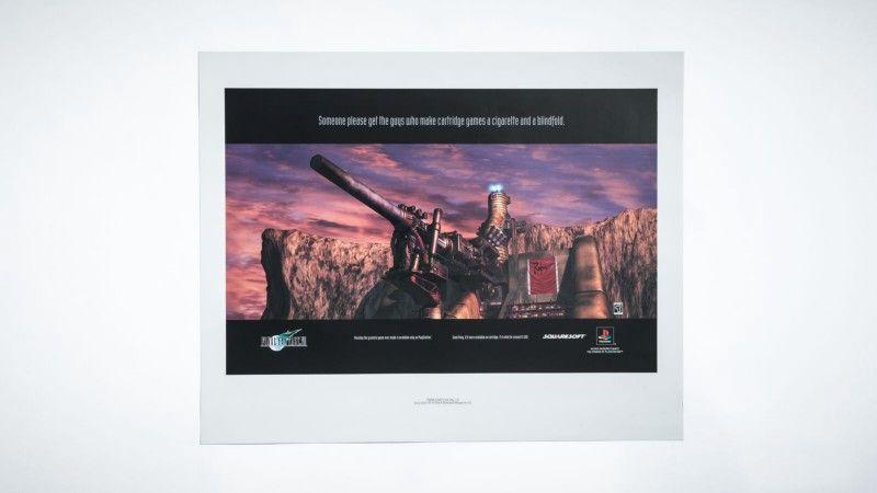 Одной из целей Sony при создании печатной рекламы Final Fantasy 7 было сохранение чистоты изображения без какого-либо текста поверх артов, поэтому команда поместила маркетинговые слоганы внизу страницы. Фотограф: Джонатан Кастильо; материалы предоставлены Дэвидом Бамбергером.
