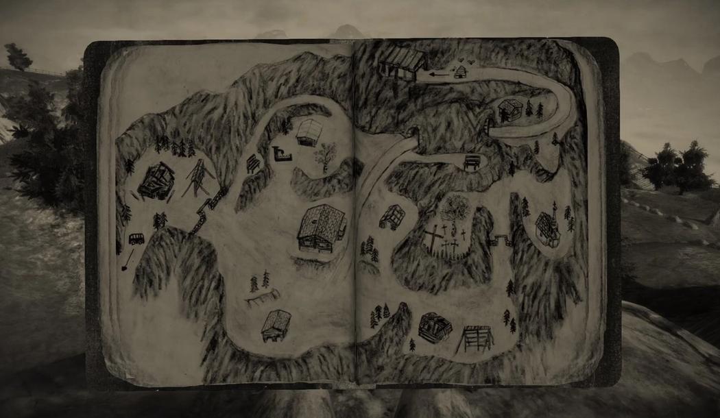 Карта первой локации в дневнике главного героя Mundaun.