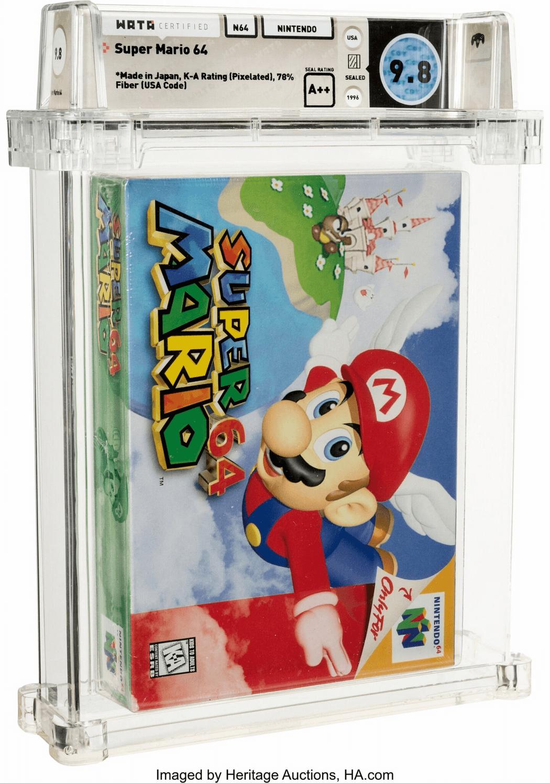 Мы вас обманули — вот та самая копия Super Mario 64 с оценкой Wata 9,8, проданная за $1,56 миллиона. На предыдущем фото был картридж с той же игрой, который на том же аукционе продали всего за $13,2 тысяч. Две десятых балла от Wata сделали свое дело.