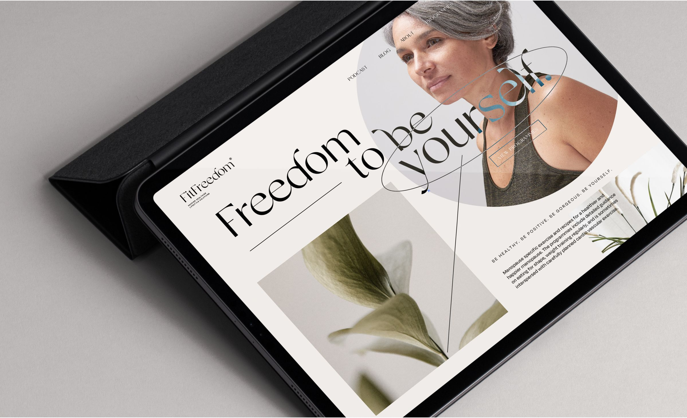Typographic web design for Fitfreedom