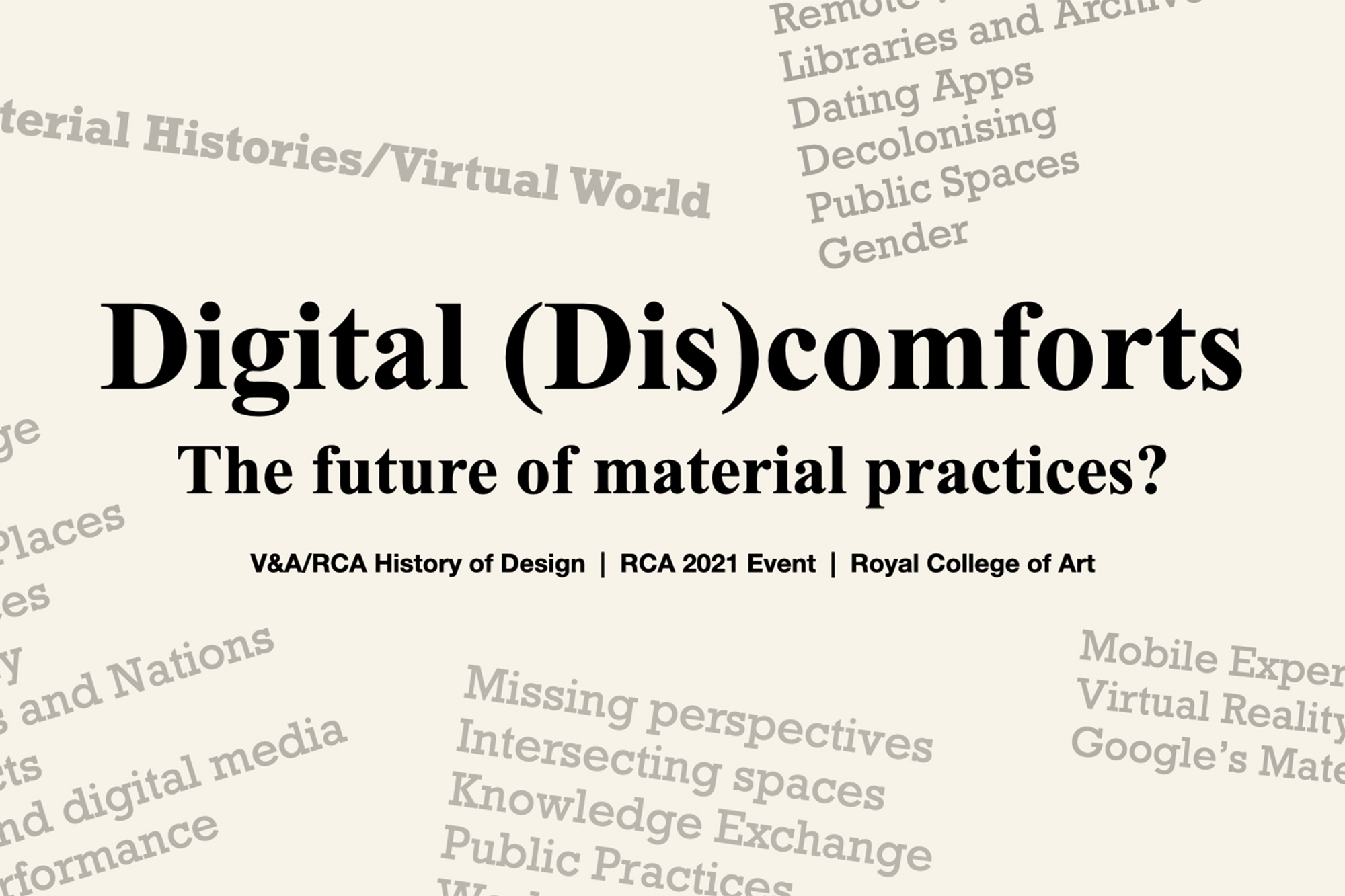 """Bold title """"Digital Discomforts"""" with a selection of related theme words"""