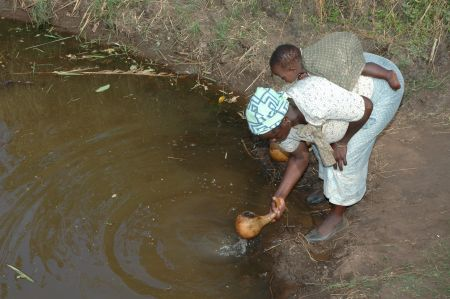 A typical water hole – unsafe water source