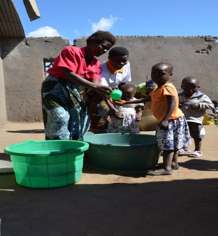 Learning personal hygiene by washing hands