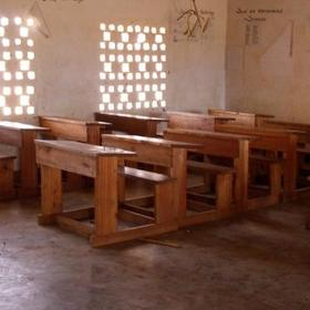 Provide a school desk and chair