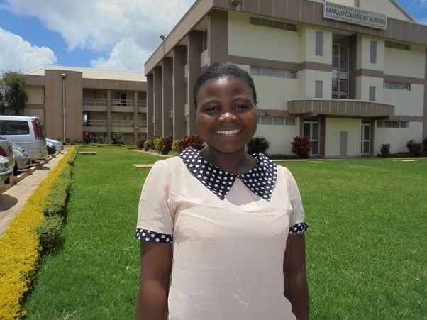 Lobiner outside Kamuzu College of Nursing (KCN) administration buildings Lilongwe campus