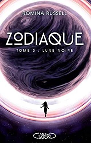 Zodiaque Lune Noire French cover that's purple & pink, featuring the silhouette of a running girl.