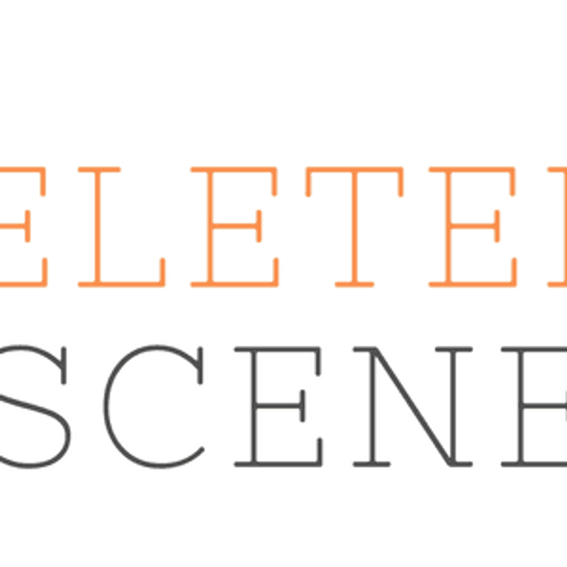 """the words """"deleted scene"""" stacked on top of each other in orange & gray, respectively"""