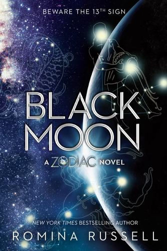 Purple, silver, & black book cover of Black Moon featuring the Pisces, Aquarius, & Scorpio Zodiac signs.
