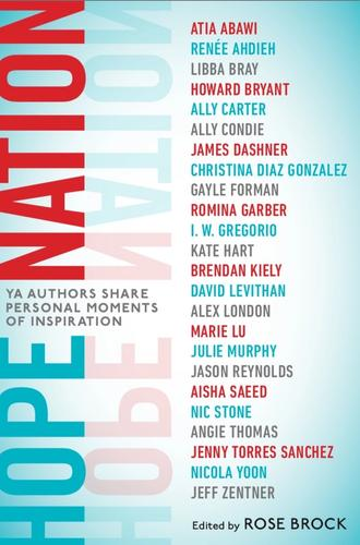 Hope Nation cover with USA colors and list of author contributors.