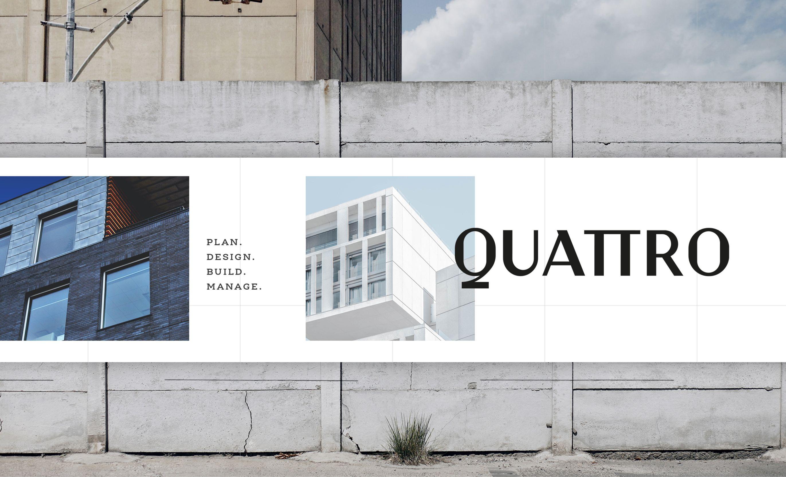 Quattro ad on concrete wall