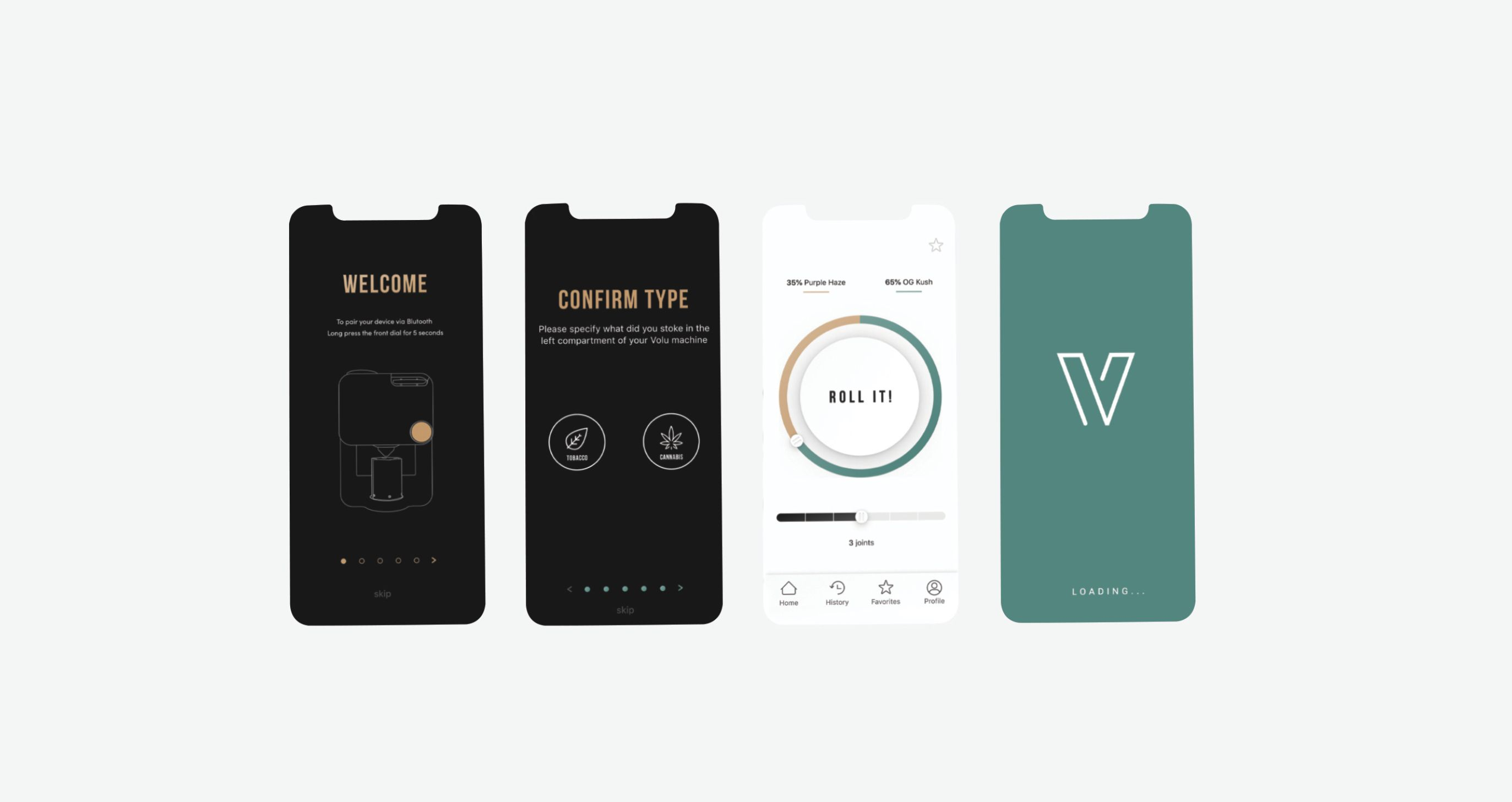 Volu app screens