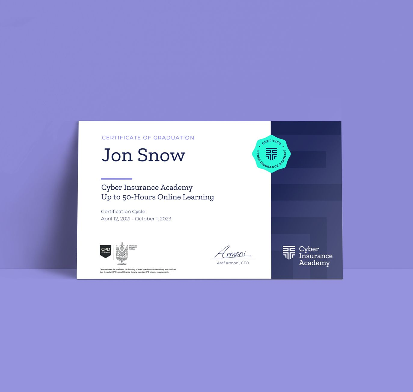 Cyber Insurance Academy certificate